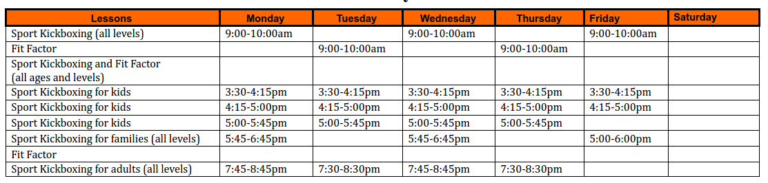 Kickboxing Schedule for South Surrey Martial Arts Studio