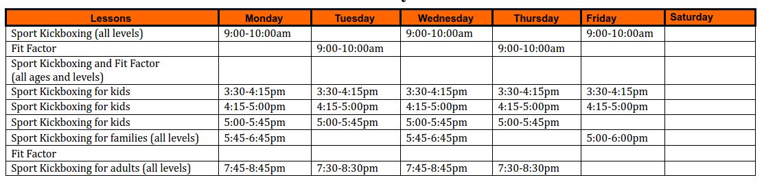 Kickboxing Schedule for South Surrey Martial Arts Studio